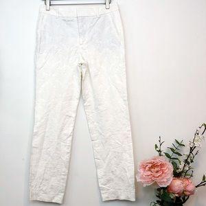 Zara Woman   White Textured Cropped Pants, Small